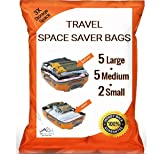 Simon Stelz 12 Pack PREMIUM Travel Space Saver Bags. No Vacuum Needed. 5 Large, 5 Medium & 2 Small bags. Sized for Carry-on and Check-in bags