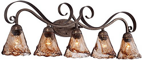 Amber Scroll 37 1/4'' Wide Art Glass and Bronze Bath Light by Franklin Iron Works (Image #4)