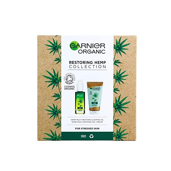 Garnier Organic Restoring & Soothing Hemp Collection, Face Sleeping Oil & Gel Cream for Stressed & Sensitive Skin Gift Set For Her