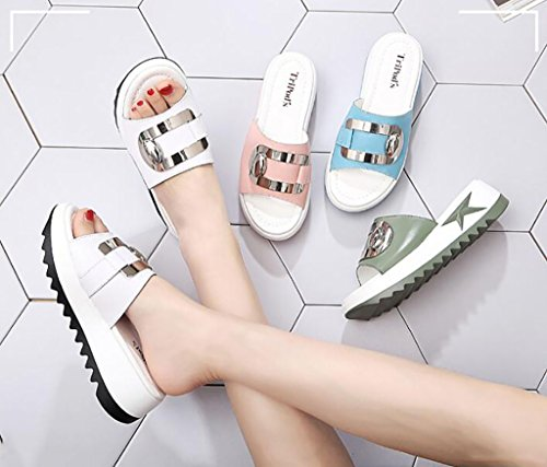 Wedges sandals and slippers, women's sandals and slippers summer fashion wild wear non-slip sandals and slippers Flat Sandals,Fashion sandals (Color : B, Size : 36) A