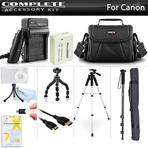Complete Accessory Kit for Canon PowerShot SX50 HS, SX50HS, SX40 HS, G1 X, G1X, G15, G16, G3 X Camera Includes Replacement (1200Mah) NB-10L Battery + Charger + Case + 57 Tripod + 67 Monopod + More