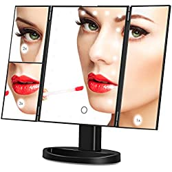 Amzdeal Makeup Vanity Mirror with 1X 2X 3X Magnifiers 24 Led Lighted Tri Fold Makeup Mirror 180 Degree Rotatable Countertop Bathroom Cosmetic Mirror, Black