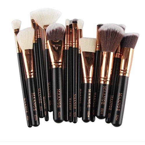 Sunbona 15PC Makeup Foundation Eyebrow Eyeliner Blush Cosmetic Concealer Brushes (Black)