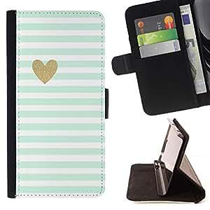 ForSamsung Galaxy S3 MINI i8190 (NOT S3) Case , Hoja Corazón minimalista Limpio Rayas- la tarjeta de Crédito Slots PU Funda de cuero Monedero caso cubierta de piel