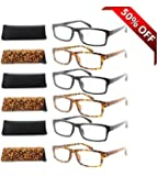 Fiore® 6 Pack Clear Spring Hinge Reading Glasses 3 Pair Black & Tortoise (1.50)