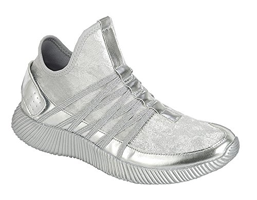 BDshoes Lizzy Top Selling 2018 Fashion Glitter Velvet Light Weight Metallic Silver Casual Tennis Shoe Zapatos Negros Casuales Calzado Informal For Young Girls (1, Silver) (Lizzy One Light)