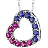 Peora Created Ruby and Created Sapphire Heart Pendant Necklace Sterling Silver