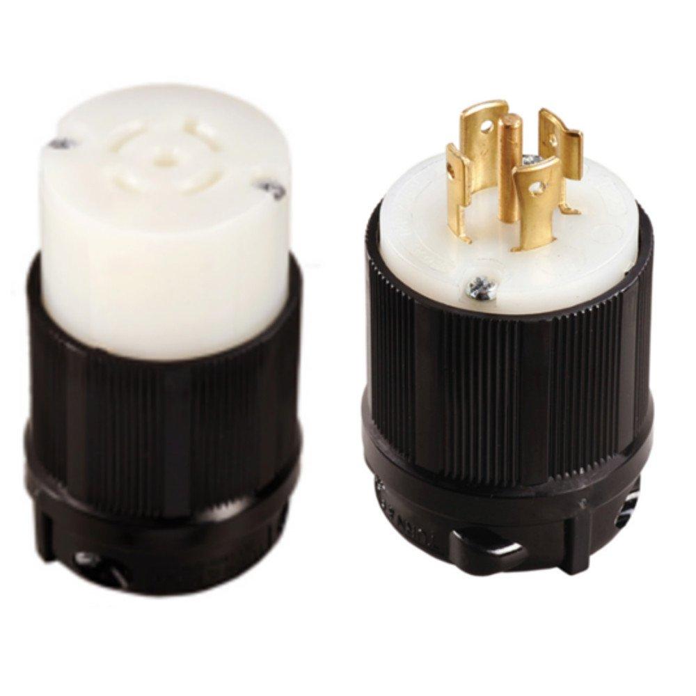 OCSParts L21-20 NEMA L21-20P and L21-20R Plug and Connector Set - 20A, 120/208V (Pack of 2)