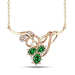 Yellow Gold Emerald Diamond Pendant Necklace