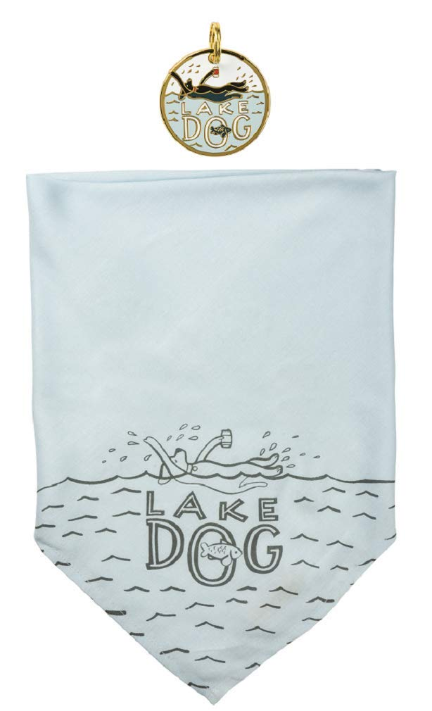Primitives by Kathy Pet Accessories Bundle, Lake Dog Lg Bandana and Charm by Primitives by Kathy