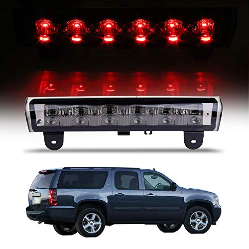 (High Mount Stop Lights Full Rear LED 3RD Third Brake Tail Light Replacement fit for 2000-2006 Chevrolet Suburban 1500/2500 2000-2006 Chevrolet Tahoe 2000-2006 GMC Yukon XL 1500/2500(Smoke Lens))