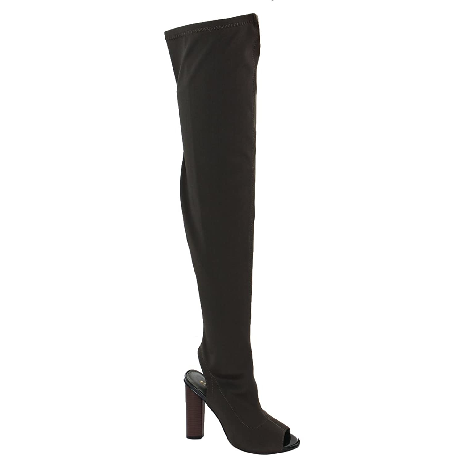 Beston FG20 Women's Stretchy Over The Knee Peep Toe Stacked Heel Boots