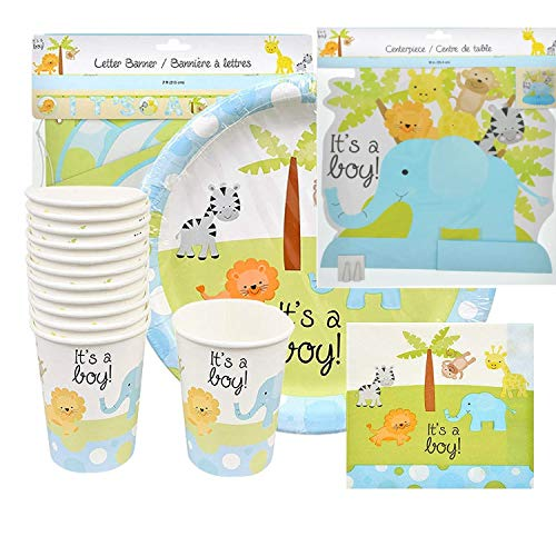 Kuky Chic disposable tablewater for baby shower party with drawings of safari animals for boy blue color -