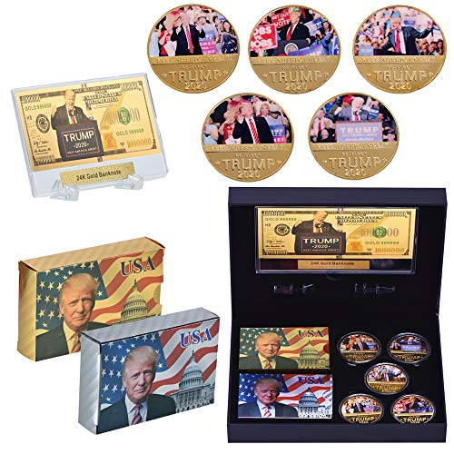 SW 5 PCS Trump 2020 Commemorative Coin, 24k Gold & Silver Playing Card for Collection,A Great Coin and Poker Collecting Gifts for Husband, Father, Friends,Fans,Father's Day and More.(Gold&Silver) (Silver Christmas Background Card)