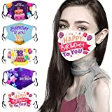 5PC Happy Birthday Theme Face_Mask for Outdoor Work and Daily Use, Mixed Pack Adults Men Women Cotton Face Covering with Adjustable Earloop, Reusable & Washable Anti-Dust Face Protection