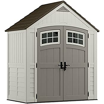 Suncast 6 x 3 Cascade Storage Shed - Outdoor Storage for Backyard Tools and Accessories - All-Weather Resin Material, Transom Windows and Shingle Style ...