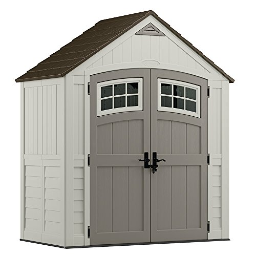 (Suncast 7' x 4' Cascade Storage Shed - Outdoor Storage for Backyard Tools and Accessories - All-Weather Resin Material, Transom Windows and Shingle Style Roof)