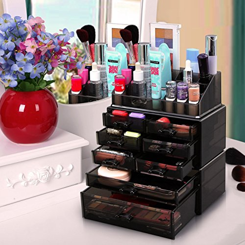 songmics makeup organizer 8 drawers cosmetic storage 3. Black Bedroom Furniture Sets. Home Design Ideas