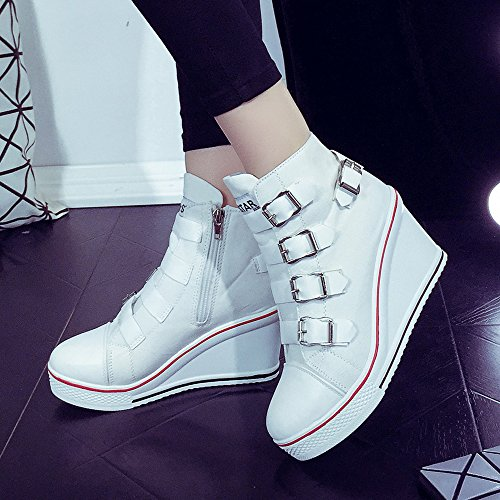 OCHENTA de hebilla bomba deporte cuña plataforma punta de zapatos moda tacón blanco lienzo redonda zapatilla ZUaZwrq