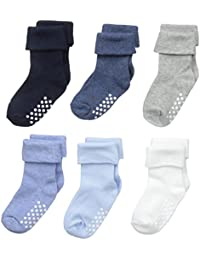 Baby Boys' Non-Skid Turn Cuff Socks 6 Pair Pack