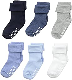 Jefferies Socks Unisex-Baby Non-Skid Turn Cuff 6 Pair Pack, Multi, Infant