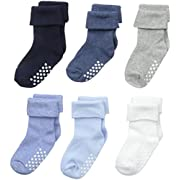 Jefferies Socks Unisex-Baby Non-Skid Turn Cuff 6 Pair Pack, Boy Multi, Toddler