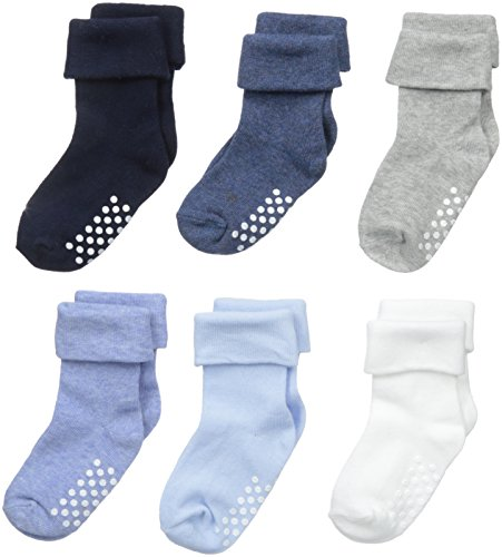 Jefferies Socks Unisex-Baby Non-Skid Turn Cuff 6 Pair Pack, Boy Multi, Infant (Triple Layer Girl Dress)
