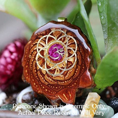 Glowing Crushed Sugilite with Gold Seed of Life + Om Third Eye Pinecone Pendant