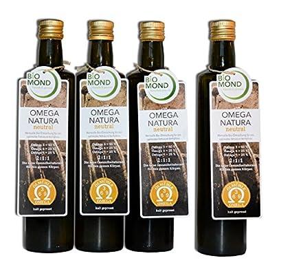 Omega 3 6 9 Natura Speise Öl von BIOMOND / 4 x 500 ml/Aktion 3 PLUS 1 GRATIS: Sie sparen 34,95 € / ungefiltert/frisch gepress