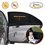 UEOTO Car Sun Shades for Baby 2 Pack, Car Window Shade Blinds Covers for Kids Pets with UV Rays/Sun Heat/Glare Protection, Car Sunshades Shield with Breathable Mesh Visor for Side Rear Full Window