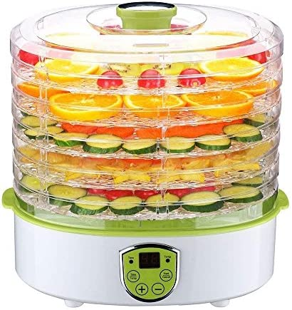 Food Dehydrator,PowCube Fruit Dryer Machine Electric 5 Tier Food Preserver with Adjustable Temperature Digital Timer green