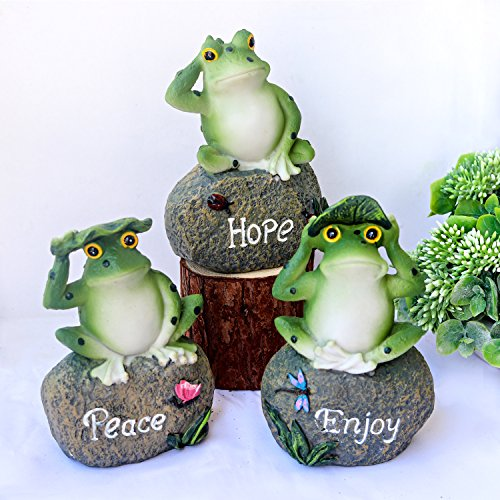 Garden Statues Frog, Ebristar Frog on Stone Garden Statues and Sculptures Frog 5 Inch Tall, Weather Resistant, Hand-painted Polyresin Sculpture, 3 Pack - Yard & Garden Decor Statues (Frog Tall)