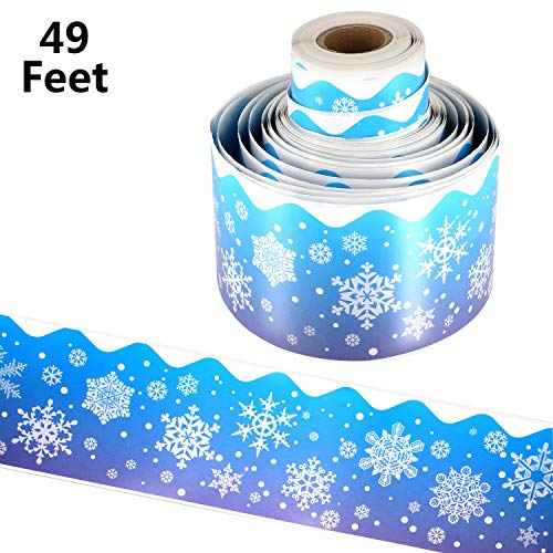 49 Feet Snow Bulletin Borders Bulletin Board Borders Trim for Christmas Party Decoration Supplies (Snowflake Style)