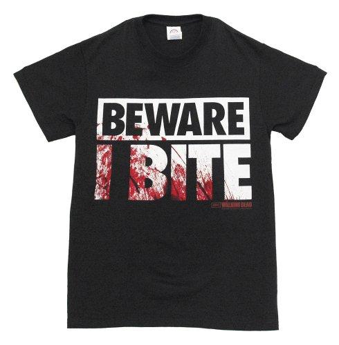 Walking Dead The Beware I Bite Costume Official Licensed AMC Adult T-shirt L -