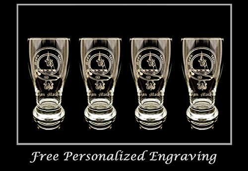 (Clan MacKay Scottish Crest Pint Glass Set of 4 - Free Personalized Engraving, Family Crest, Pub Glass, Beer Glass, Custom Beer Glass)