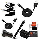 Black Micro USB Cable 6 Piece Bundle Kit for Huawei Honor 5X : 2 cables, car charger, wall charger, AUX, Stylus pen.