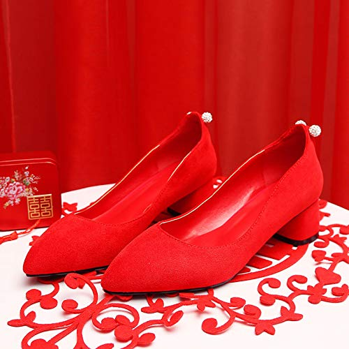 HBDLH Damenschuhe Hochzeit Schuhe Rote Meine Damen Dicke Schuhe Schwangere Frauen Bräute Rote Schuhe Schuhe Nahen Heels Toasts Hochzeit Schuhe 35 des df9199