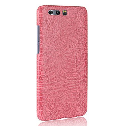 Funda Huawei Honor 9, SunFay Funda Posterior Protector de PC Carcasa Back Cover de Parachoques Piel PU Protectora de Teléfono Para Huawei Honor 9 - Rojo Rosa