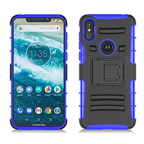 BEBEST-Motorola Moto One Case, Moto P30 Play Phone Case w/Built-in Kickstand & Belt Clip [Hybrid Dual Layer][Shockproof Bumper] Rugged Heavy Duty Full Body Protective Case for Moto One (5.9)-Black