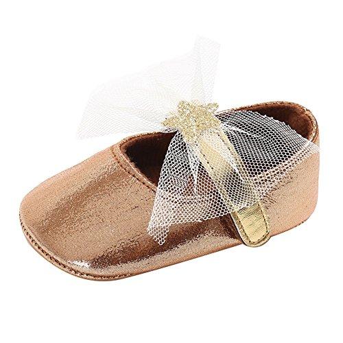 hibote Zapatos de Niño Niño Zapatos Princesa Suela Sole Anti-slip Pearlite Encaje Zapato Gold 6-12M marrón