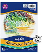 """UCreate Watercolor Paper, White, Package, 140 lb, 9"""" x 12"""", 50 Sheets"""