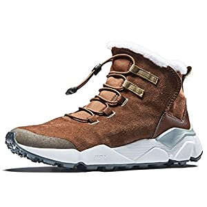 RAX Men's Outdoor Anti-Slip Waterproof Snow Boot with Fur Lined Winter Warm Shoes