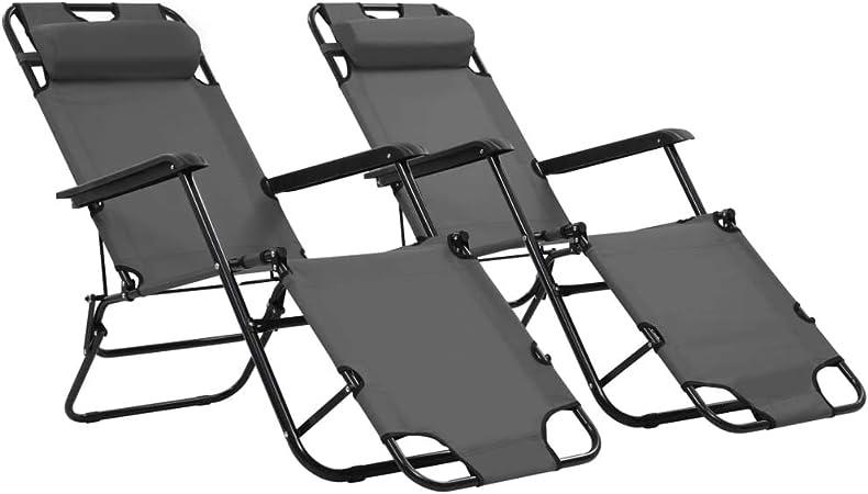 Chaise Longue Pliable de Jardin en Acier Bain de Soleil pour terrasse dext/érieur Patio avec Dossier r/églable Gris Festnight