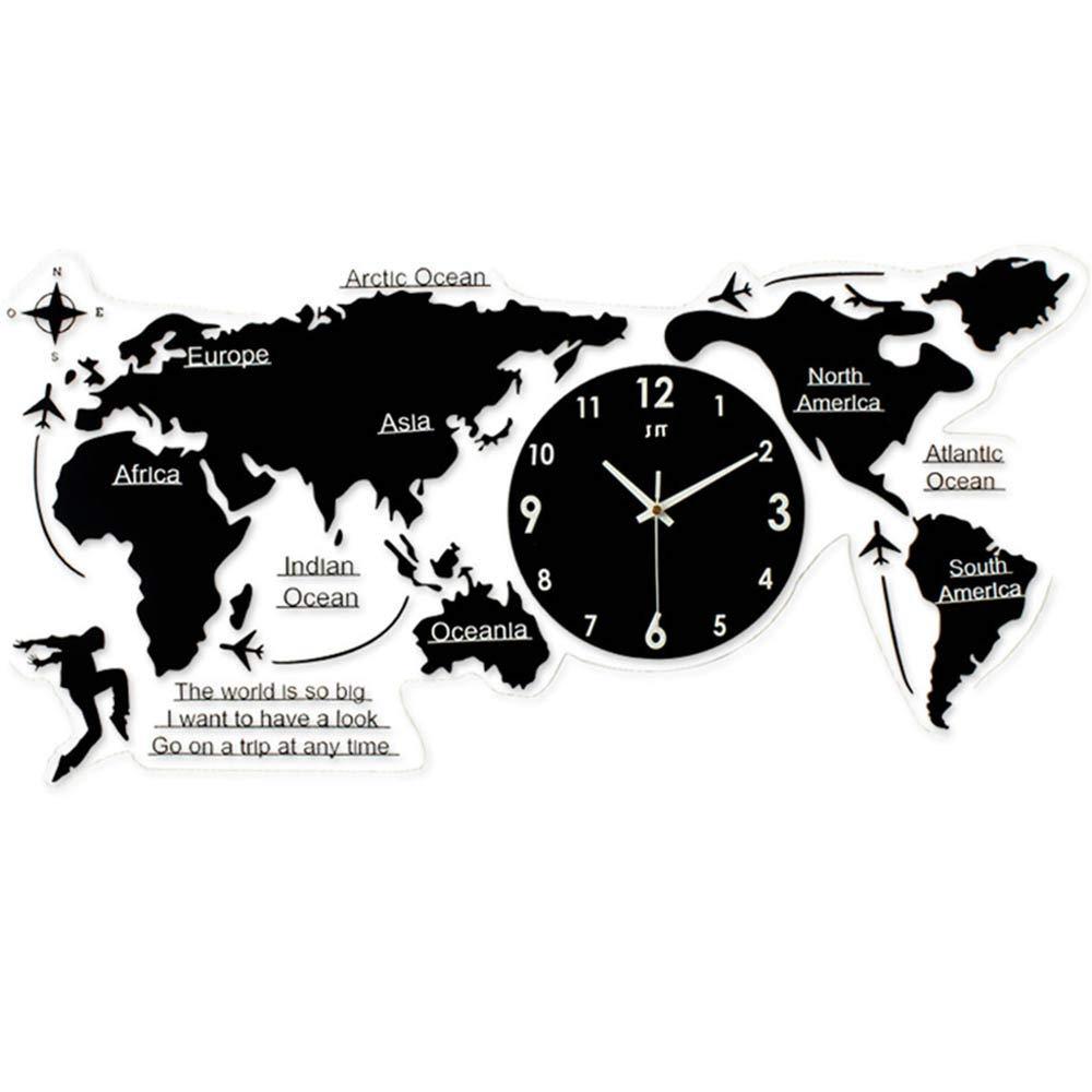 JIANword Clock World Map Modeling Acrylic Material Time Quasi-Quiet Non-Fading Non-Deformation Wall Clock Modern Nordic Clock Quartz Clock Two Sizes,120x55cm