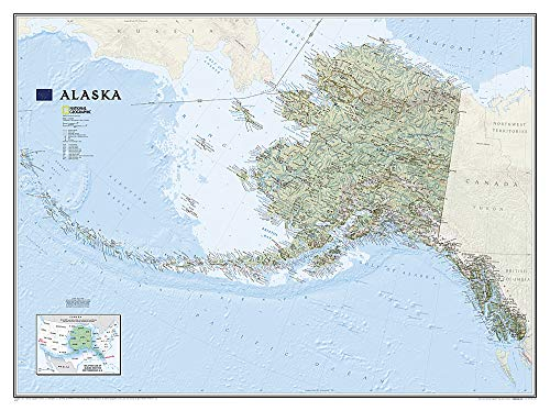 National Geographic: Alaska Wall Map (40.5 x 30.25 inches) (National Geographic Reference Map) ()
