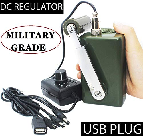 Hand Crank Generator 30W 0-28V Portable Dynamo Phone Charger Military Emergency Power Generator Portable Battery Generator for Camping Outdoor Computer Charging with USB Plug (Green + DC Regulator)