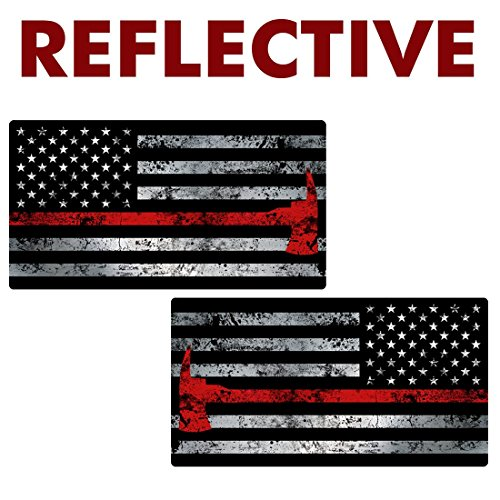 AZ House of Graphics REFLECTIVE Thin RED LINE AXE Flag MIRRORED 2 pack Stickers - #FS2034LR-REF