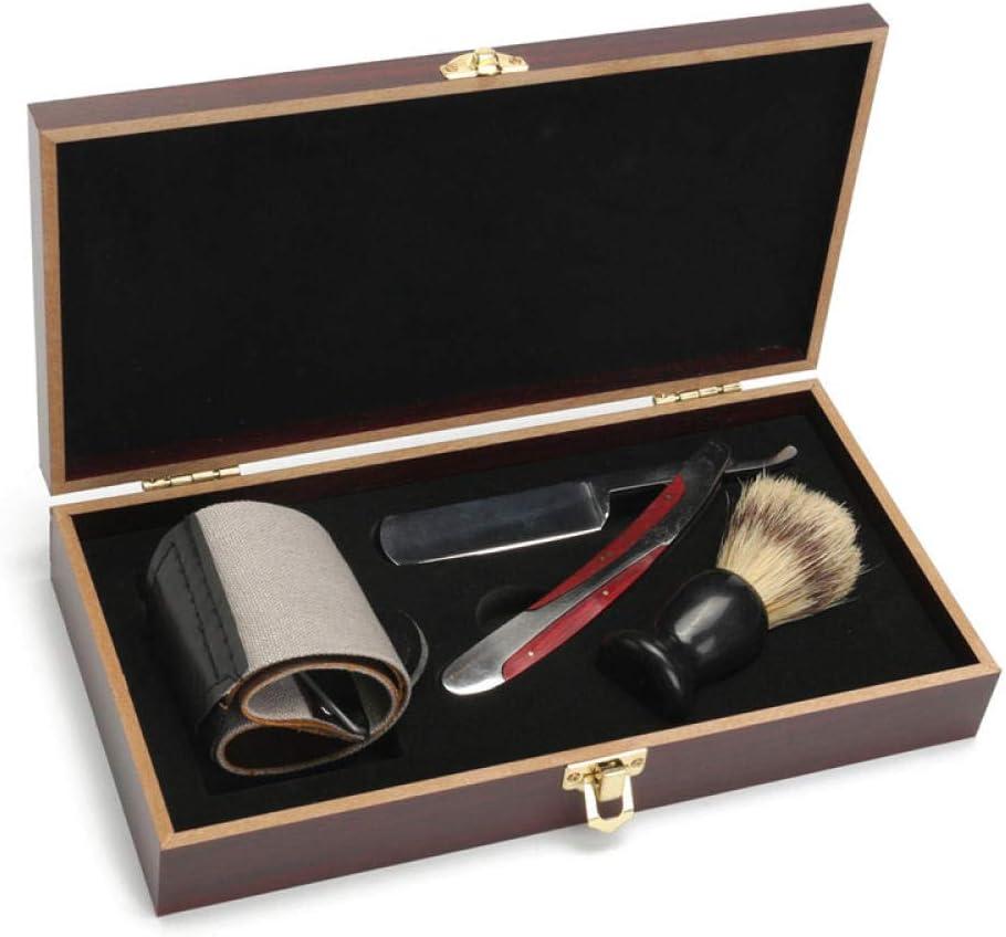Navaja manual vintage set caja de madera regalo afilado cuchillo de barbero navaja plegable: Amazon.es: Belleza
