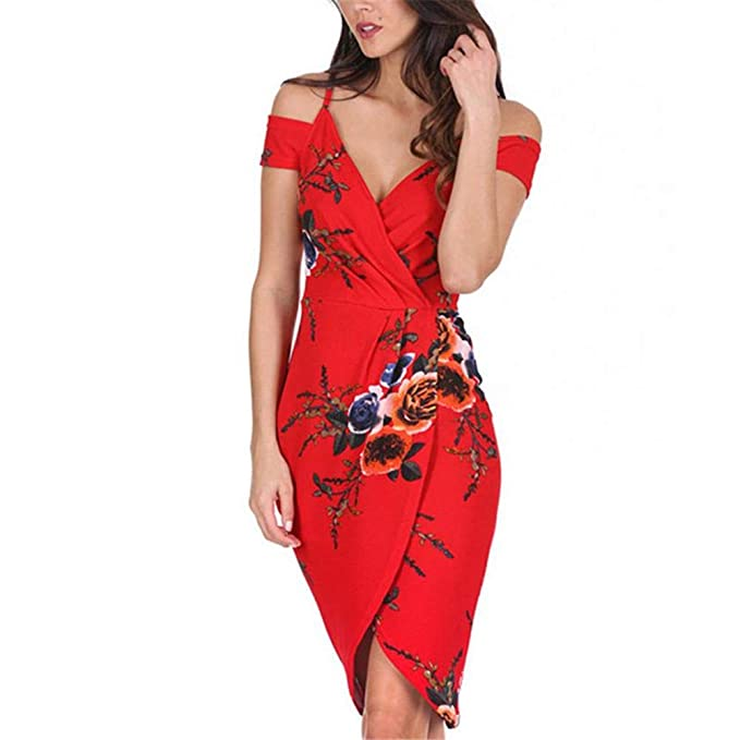 b94fb094e31b New Women Sexy Off Shoulder Floral Print Sundress Red Short Party Beach  Dress at Amazon Women s Clothing store