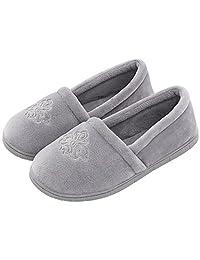 Women's Velvet Memory Foam Closed Back Slippers Lightweight Anti-Slid Embroidery Ballerina House/Office Shoes